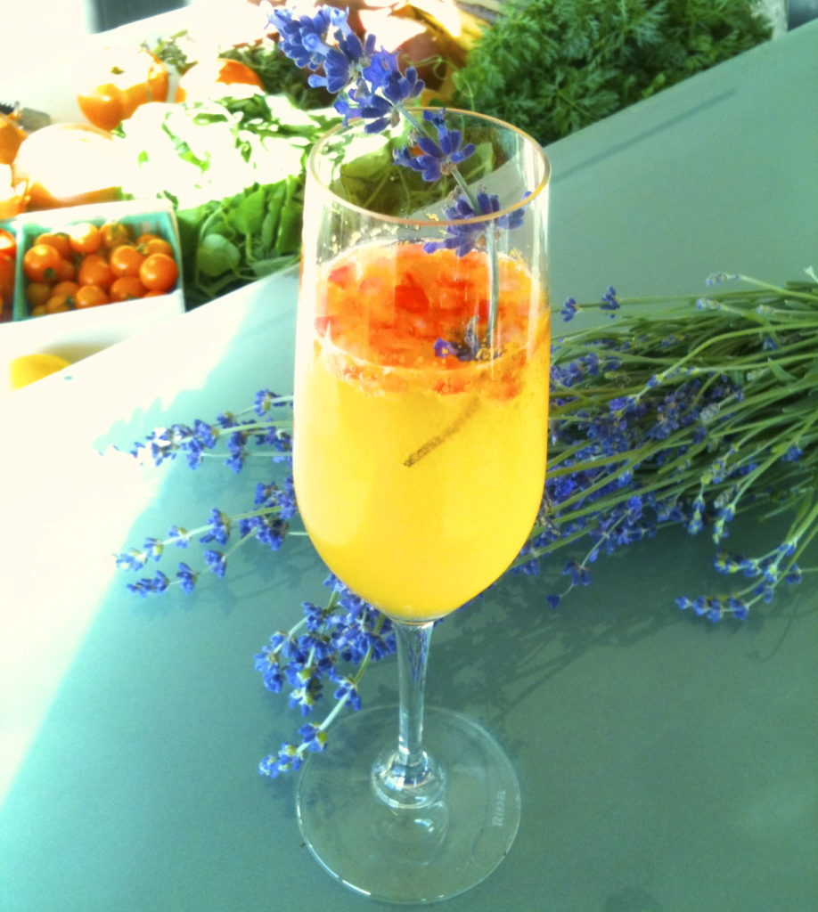 Persimmon Pomegranate Spritz with Lavender