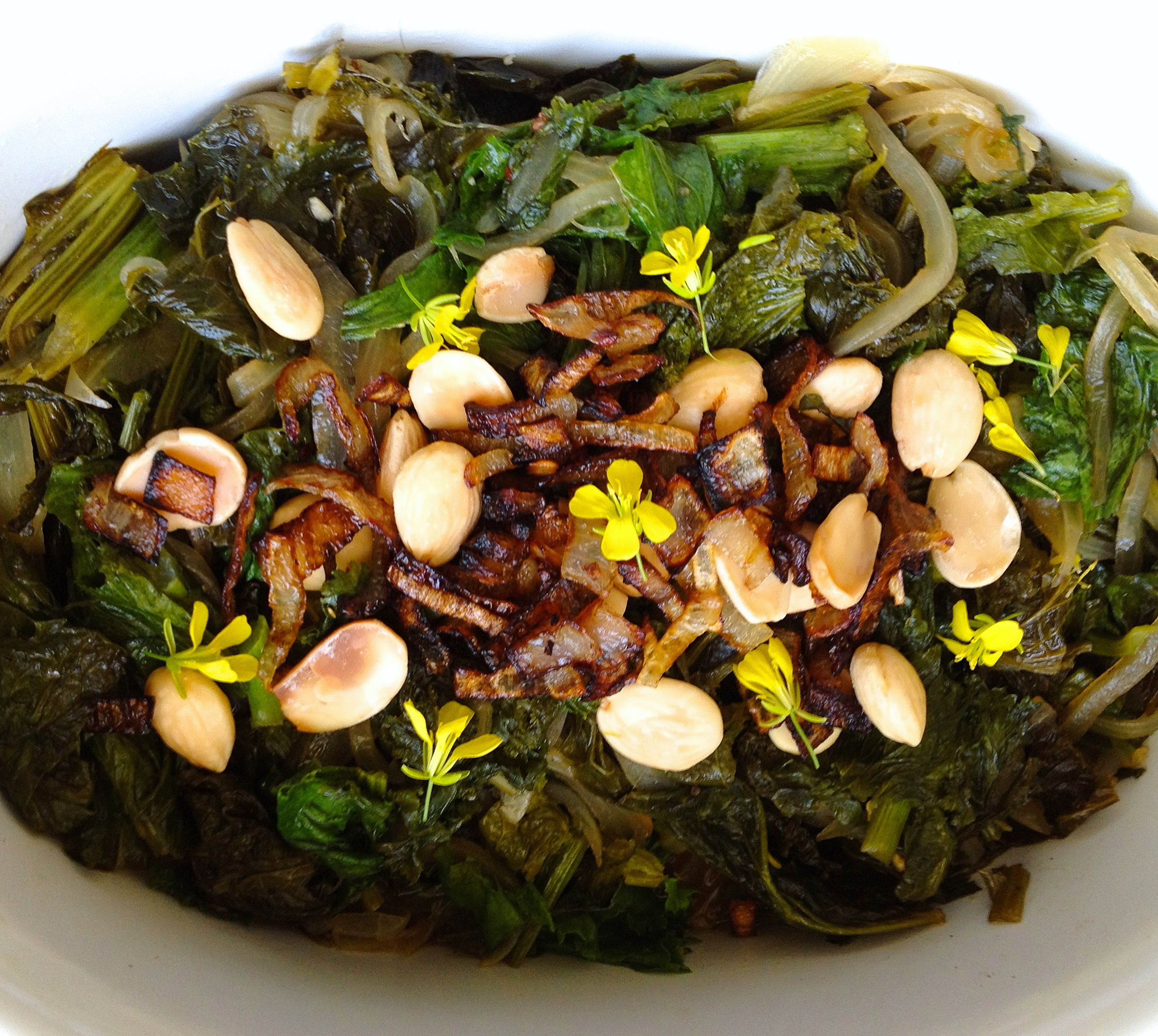 Greens Agrodolce with Marcona Almonds and Crispy Fried Shallots