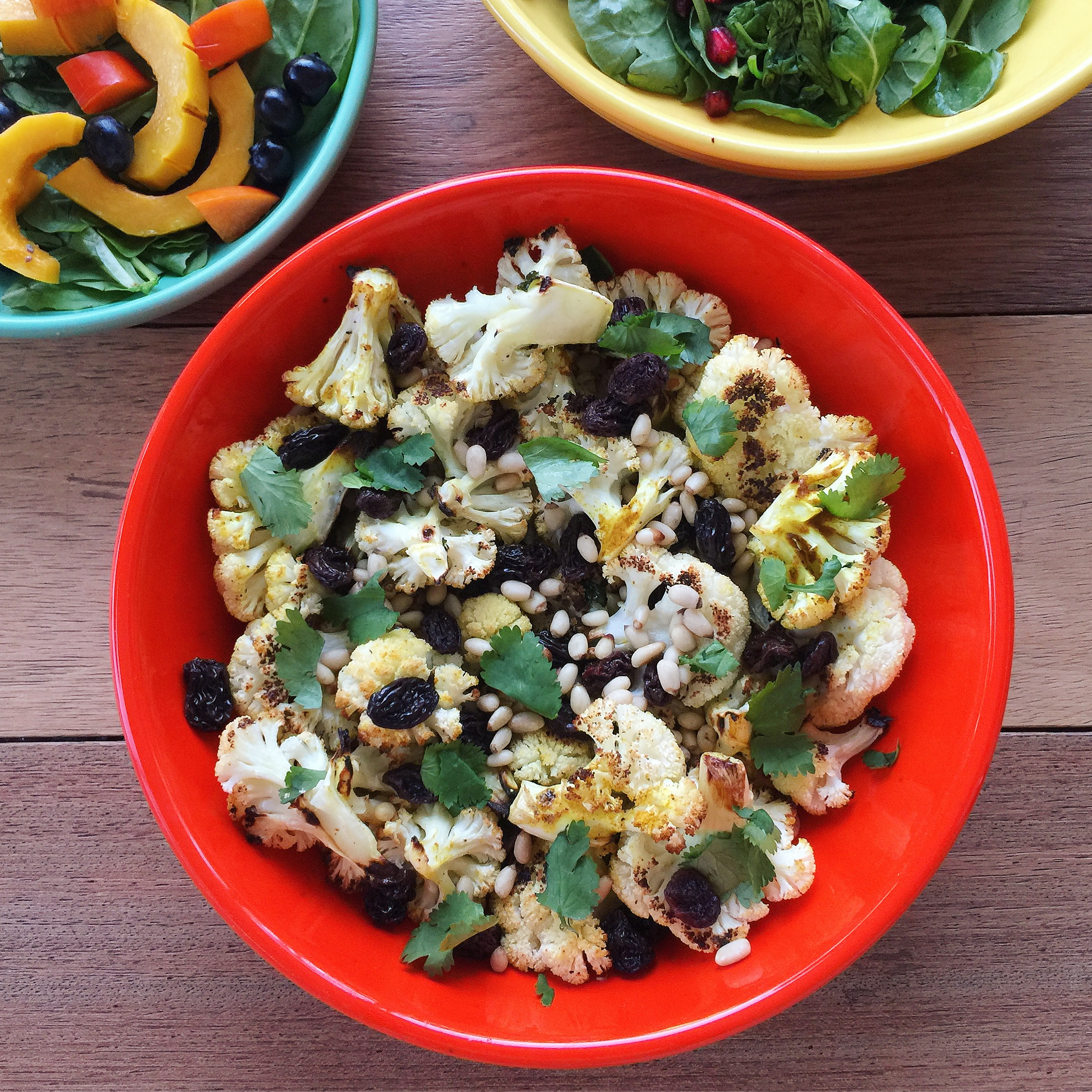 Roasted Spiced Cauliflower with Pine Nuts and Plump Raisins
