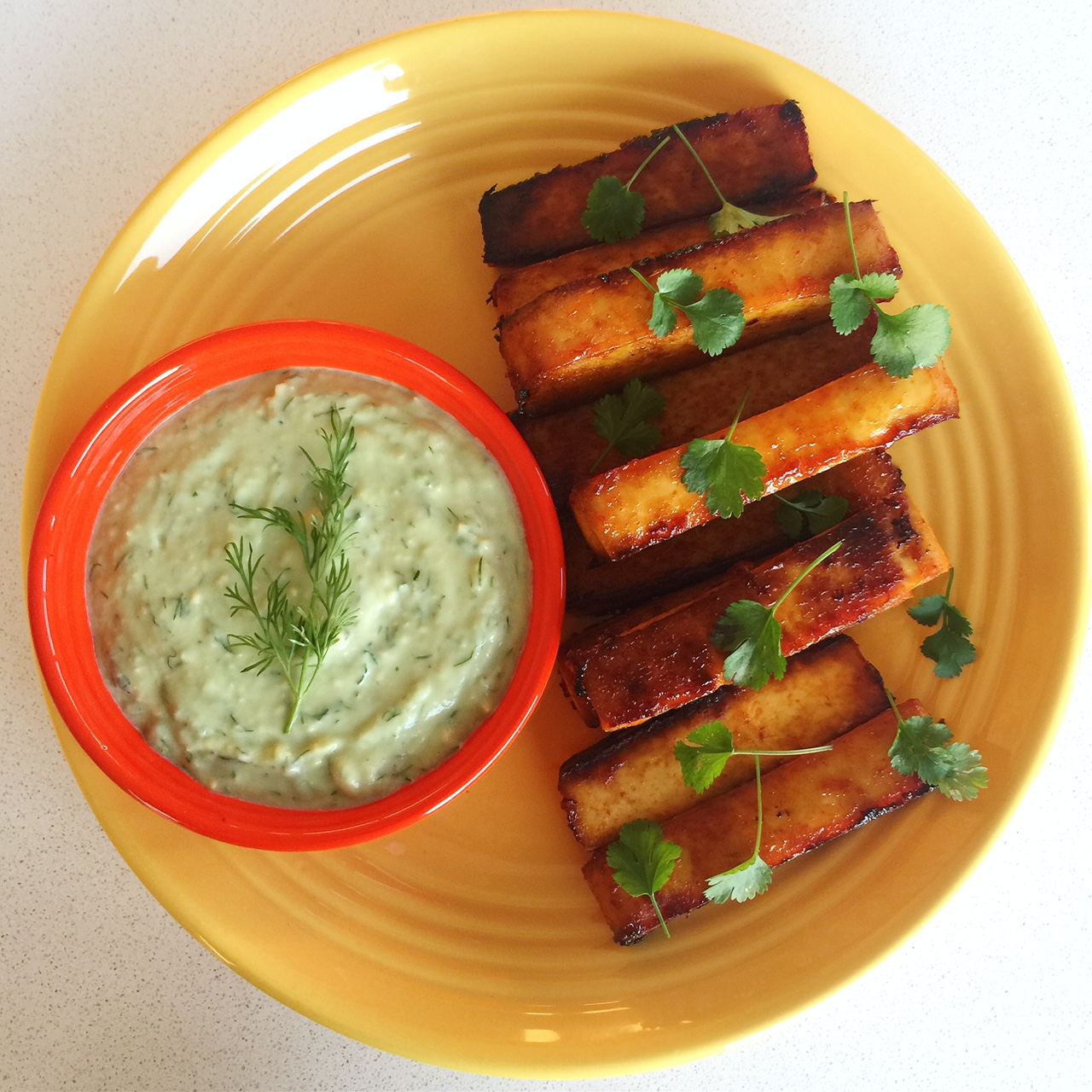 Spicy Buffalo Tofu Fingers with Creamy Avocado Ranch Dressing