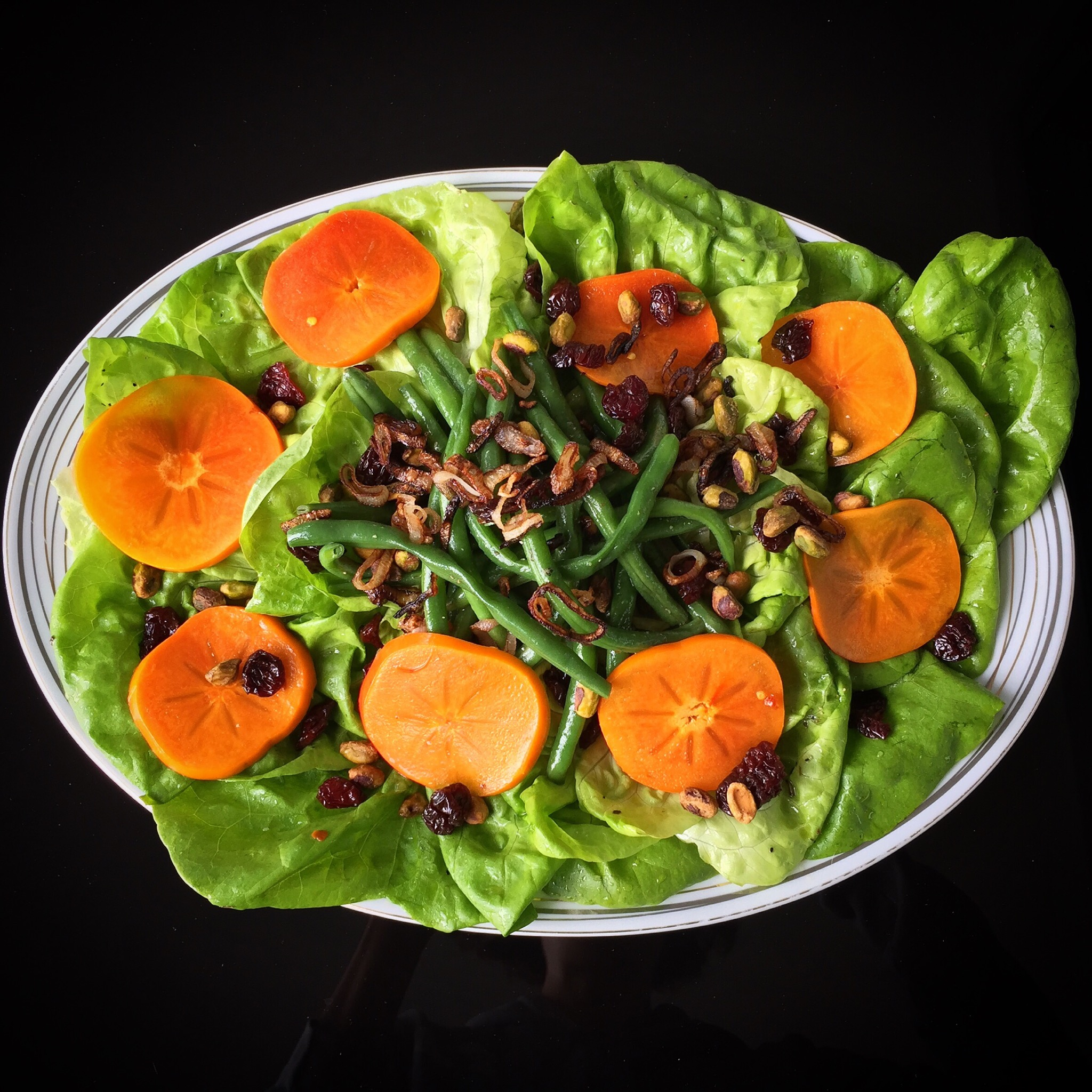 Salad with Green Beans, Pickled Persimmon and Dried Cherries