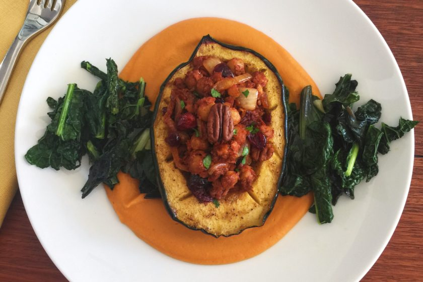 The Perfect Vegetarian Main Dish for The Holidays- Stuffed Maple Glazed Acorn Squash