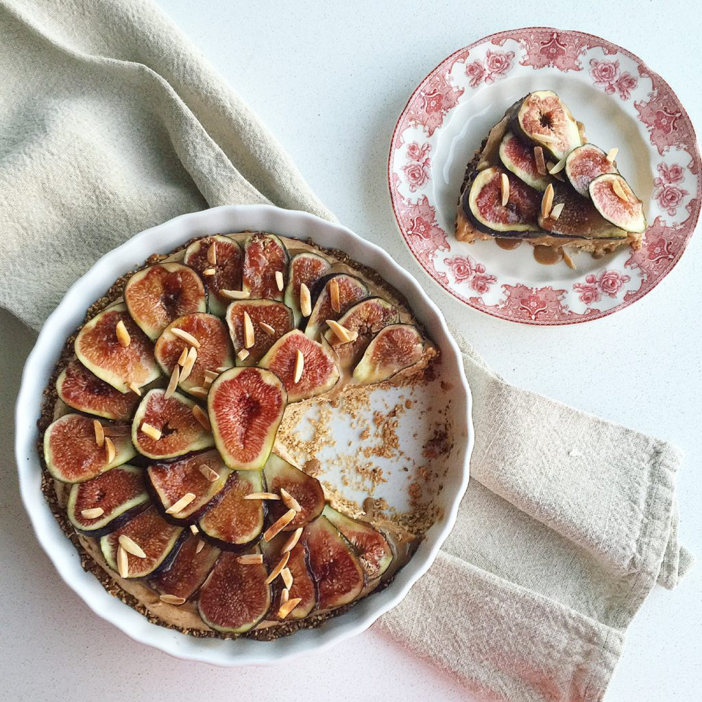 Fig and Almond Butter Mousse Pie with Sesame-Oat Crust