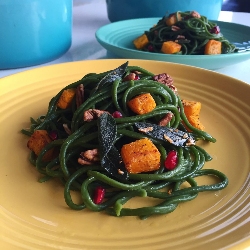 Spinach Pasta with Roasted Pumpkin, Pomegranate and Pecans in Sage Garlic Oil