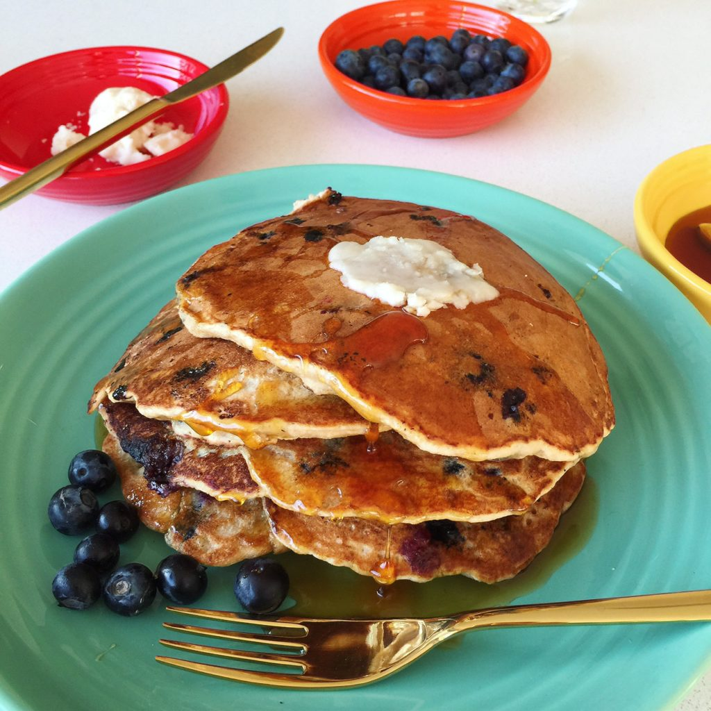 7-Grain Blueberry-Rosemary Pancakes with Orange Blossom and Coconut Butter (dairy-free, egg-free)